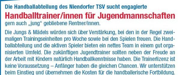 Die Handballabteilung des Niendorfer TSV sucht engagierte Handballtrainer/innen für Jugendmannschaften